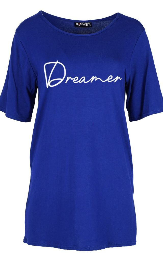 Royal Blue Dreamer Baggy Short Sleeve T-Shirt by Oops Fashion