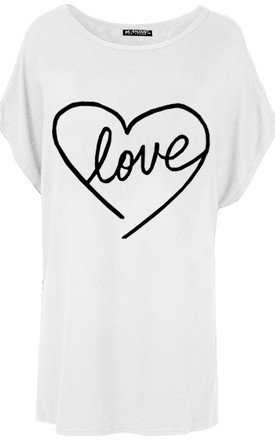 Heart Love printed Tshirt in White by Oops Fashion