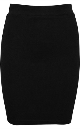 Black High Waisted Knitted Bodycon Mini Skirt by Oops Fashion