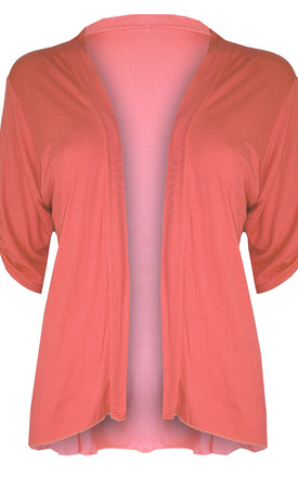Eva Button Sleeve Cardigan in Coral by Oops Fashion