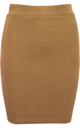 Camel High Waisted Knitted Bodycon Mini Skirt by Oops Fashion