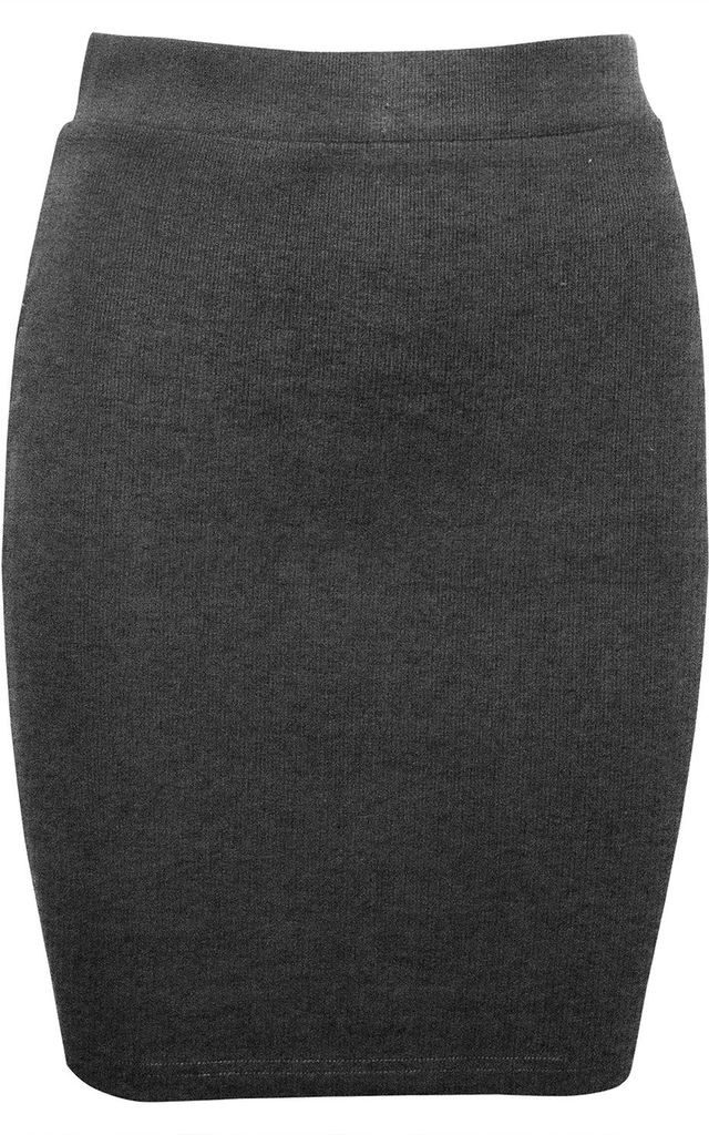 Charcoal High Waisted Knitted Bodycon Mini Skirt by Oops Fashion