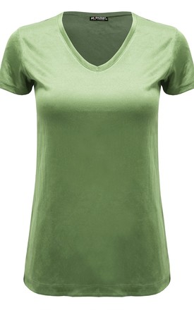 Apple Green Plain V Neck Basic Cap Sleeve T Shirt by Oops Fashion