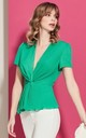 Wrap Over Pleated Summer Green Top by Explosion London