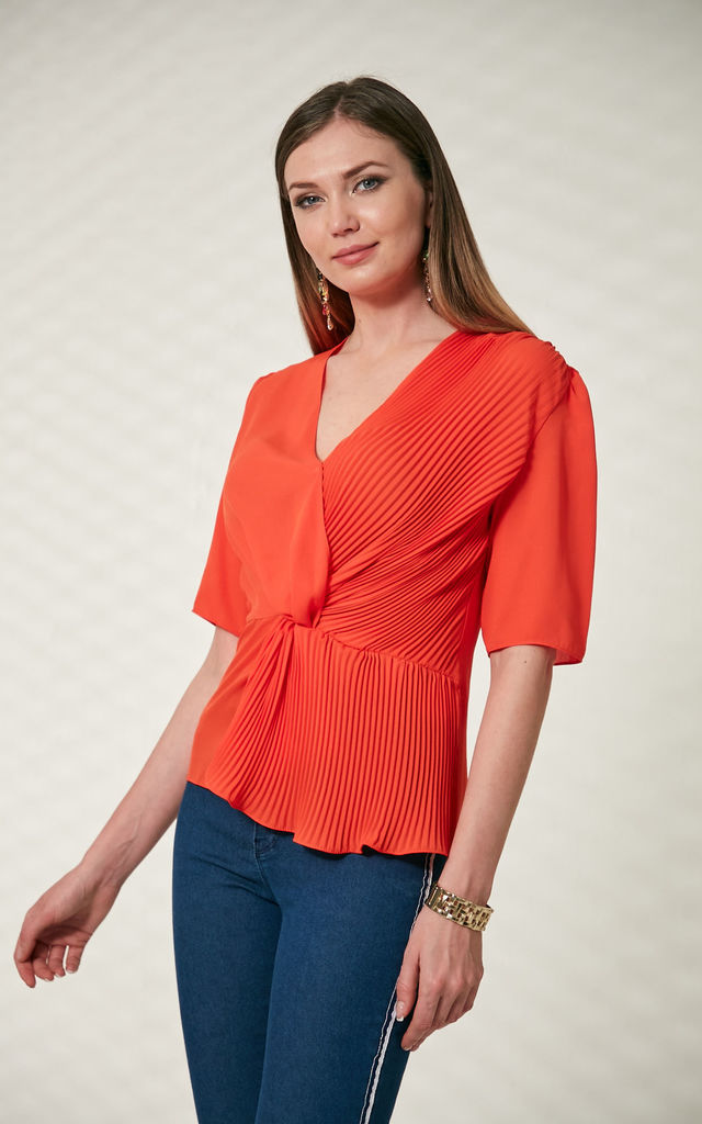Wrap Over Pleated Summer Top in Coral colour by Explosion London