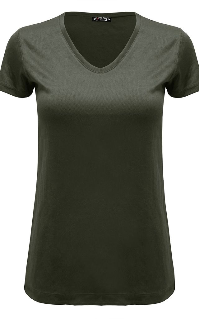 Khaki Plain V Neck Basic Cap Sleeve T Shirt by Oops Fashion