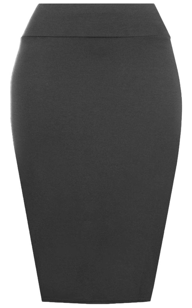 Hailsee High Waisted Midi Pencil Skirt In Charcoal by Oops Fashion