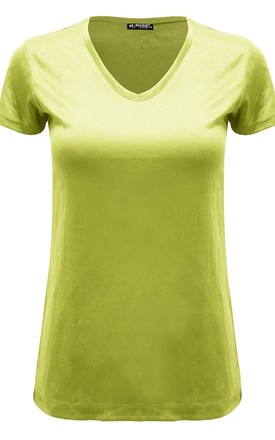 Lemon Plain V Neck Basic Cap Sleeve T Shirt by Oops Fashion