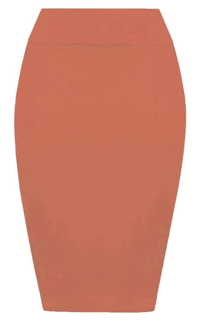 Hailsee High Waisted Midi Pencil Skirt In Coral by Oops Fashion