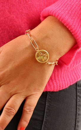 'Club Tropicana' Gold Palm Tree Floating Locket Bracelet by Kate Thornton