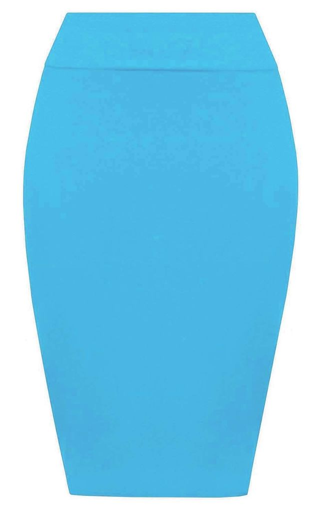 Hailsee High Waisted Midi Pencil Skirt In Turquoise by Oops Fashion