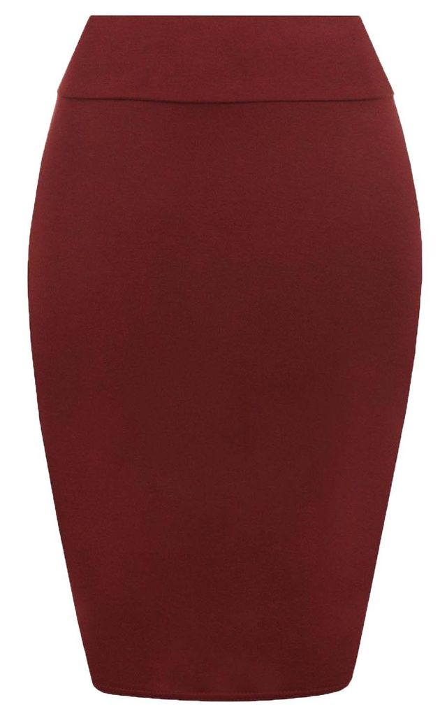 Hailsee High Waisted Midi Pencil Skirt In Wine by Oops Fashion