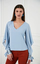 Oversize Summer Blouse with Sequin Cuffs in Blue Colour by Explosion London