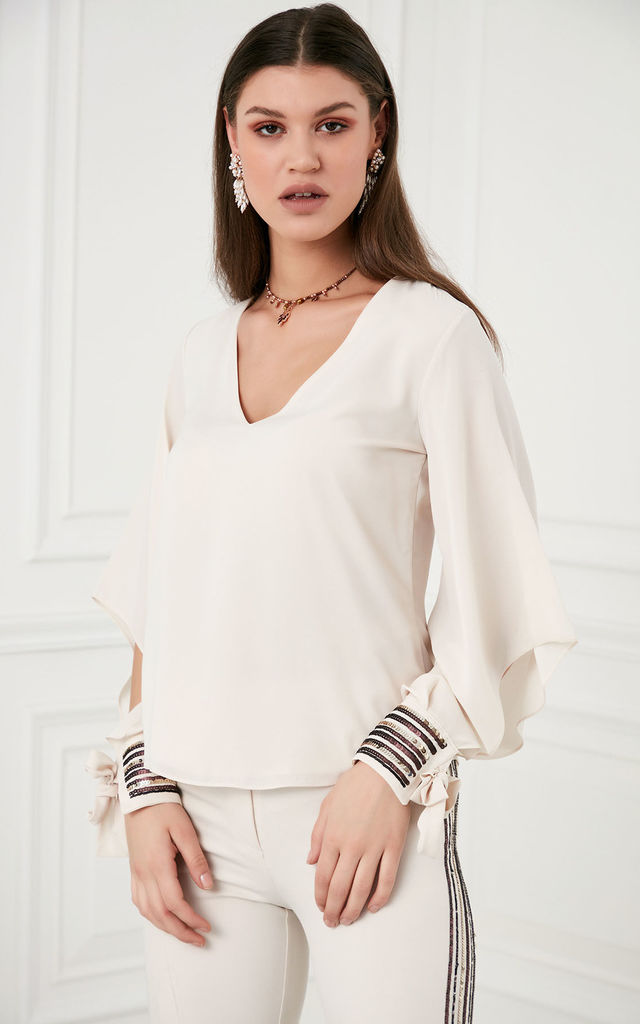 Oversize Summer Blouse with Sequin Cuffs in Beige colour by Explosion London