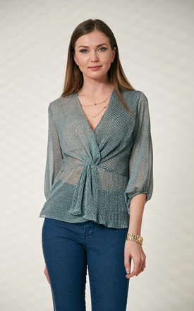 Wrap Over Pleated Summer Top in Polka Dot Green colour by Explosion London
