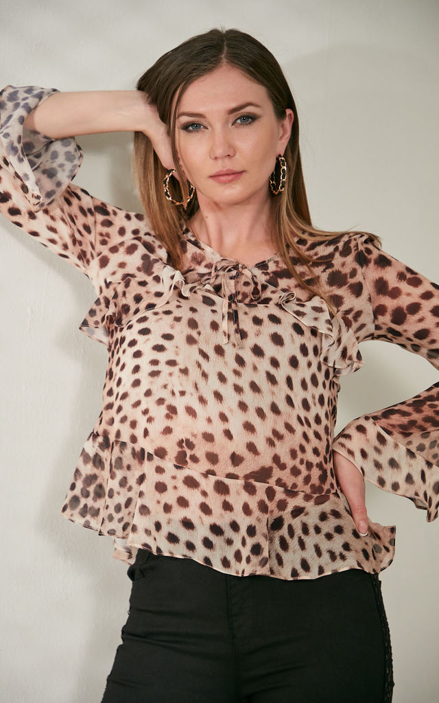 Leopard Summer Top with Frıll by Explosion London
