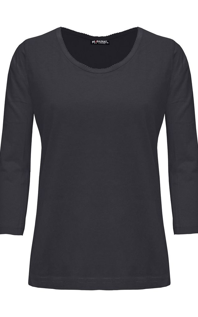 Charcoal Lace Trim 3/4 Sleeve Basic T Shirt by Oops Fashion