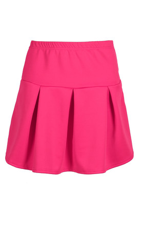Lily Pleated Mini Skater Skirt In Cerise by Oops Fashion