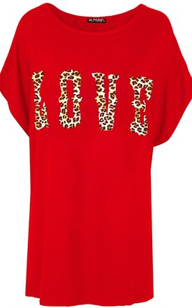 Love Slogan Print Baggy T Shirt in Red by Oops Fashion