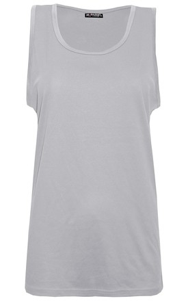 Grey Sleeveless Casual Tank Gym Vest Top by Oops Fashion