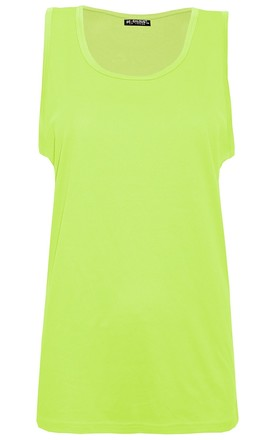 Neon Yellow Sleeveless Casual Tank Gym Vest Top by Oops Fashion