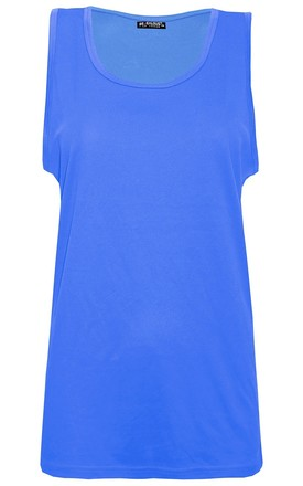 Royal Blue Sleeveless Casual Tank Gym Vest Top by Oops Fashion