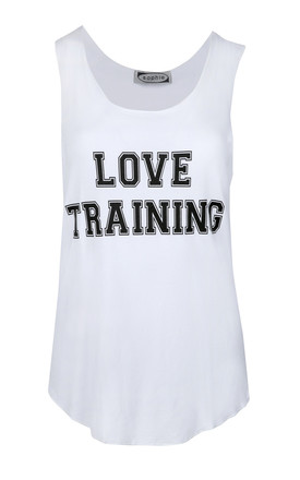 Love Training Miss Fit Sports Gym Edging Vest Top Love Training White by Oops Fashion
