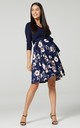 Maternity Skater Dress 3/4 Sleeves in Navy & Floral Print 525 by Chelsea Clark