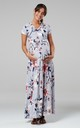 Nursing & Maternity Maxi Dress in Grey with Floral Print 599 by Chelsea Clark