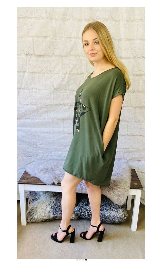Oversized Top with Leopard Print Star in Khaki by Pink Lemonade Boutique