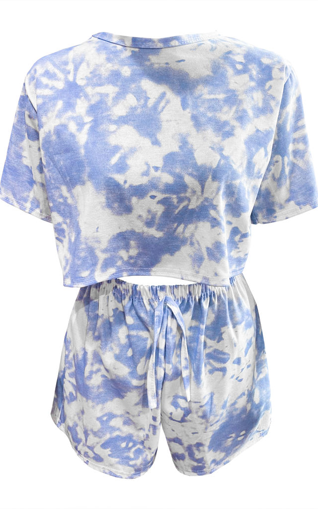 Blue 2Pcs Co-ord Set Tie-Dyed Top Shorts Loungewear by Oops Fashion