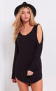 Alla Curved Hem Cold Shoulder Top in Black by Oops Fashion