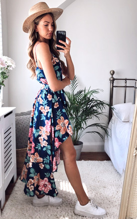 Tropical flower print navy summer dress by Twist and Turn