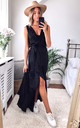WRAP FRONT SATIN MAXI DRESS IN BLACK by FLOUNCE LONDON