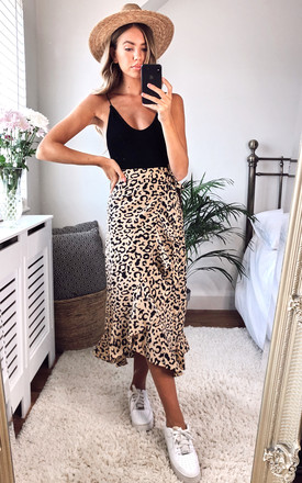 Lulu Wrap Midi Skirt   Leopard Print by Pretty Lavish Product photo