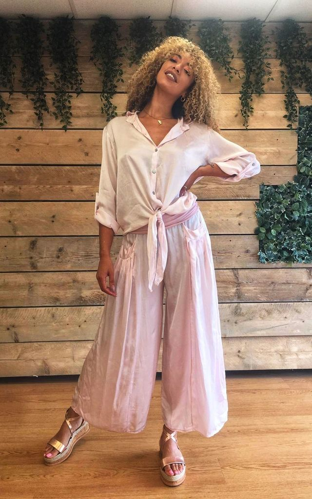 Baby Pink Silk Shirt and Wide Leg Trouser Set by Mimi Clothing