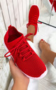 Onyx Ribbed Knit Sock Trainers in Red by Larena Fashion