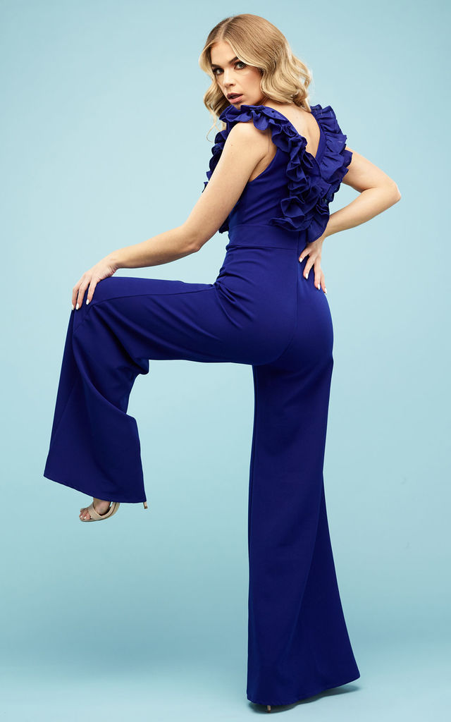Dior Frill Trouser suit Cobalt Blue by Rebecca Rhoades