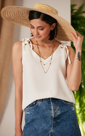 Summer White Cami Top with Adjustable Shoulders by Jenerique