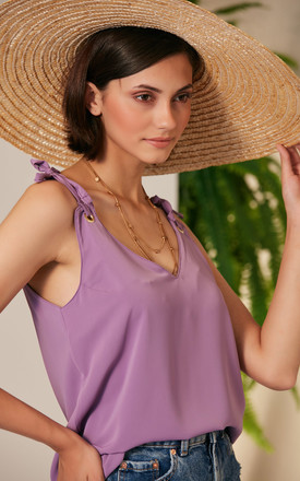 Summer Cami Top in Lilac colour with Adjustable Shoulders by Jenerique