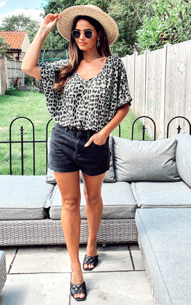 Leopard V-Neck Oversized Top In Khaki by Blue Vanilla
