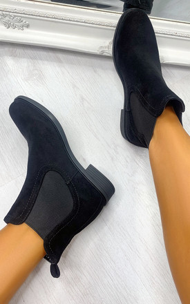 Heath Faux Suede Ankle Boots in Black by IKRUSH