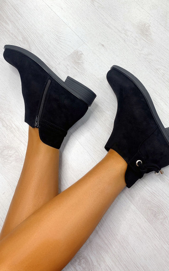 Sara Faux Suede Ankle Boots in Black by IKRUSH