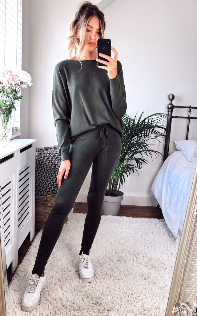 Khaki Oversized Knitted Boat Neck Jumper and Trouser Lounge Coord Set by Gini London