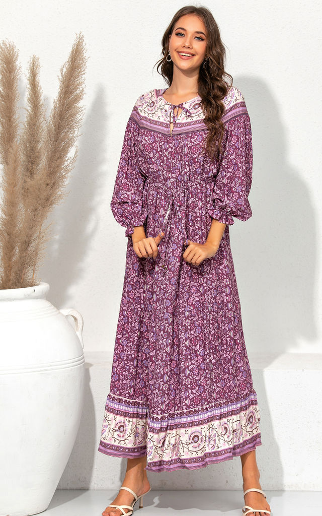 Boho Long Sleeve In Purple Floral Print Midi Dress by FS Collection