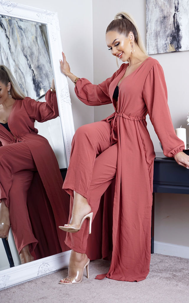 Sana Pink Maxi Kimono and Palazzo Co-ord by Missfiga