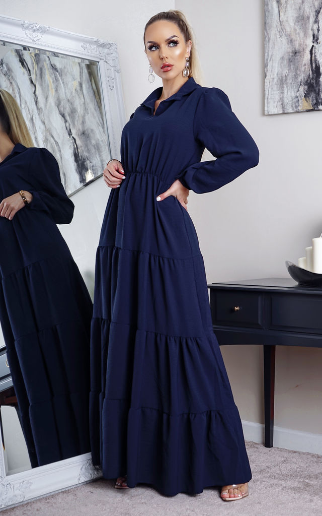 Yolanda Navy Tiered Maxi Shirt Dress by Missfiga