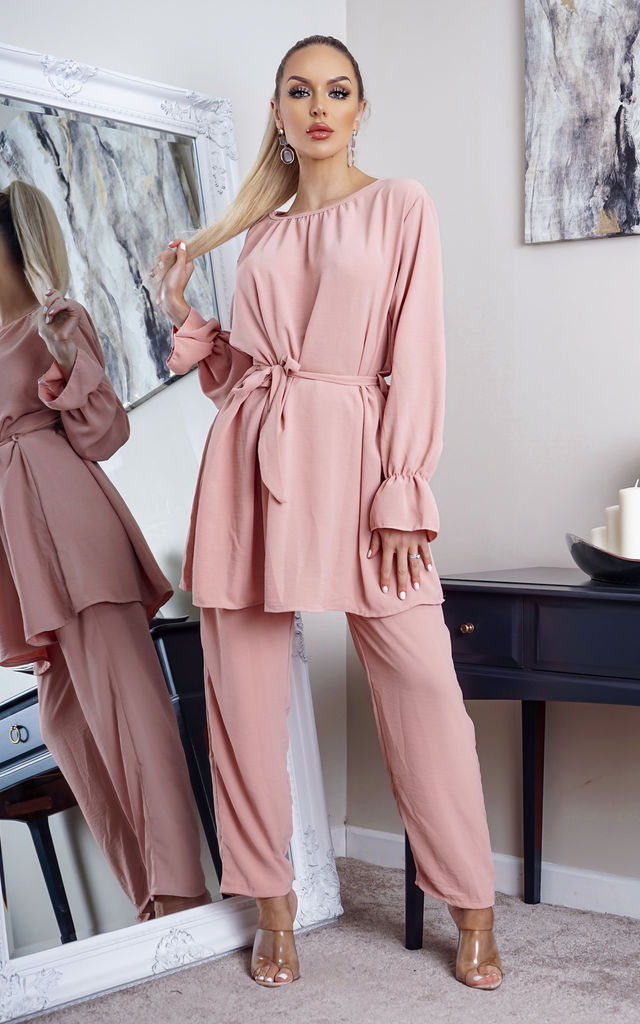 Rowan Pink Long Sleeve Top and Palazzo Trouser Co-Ord by Missfiga