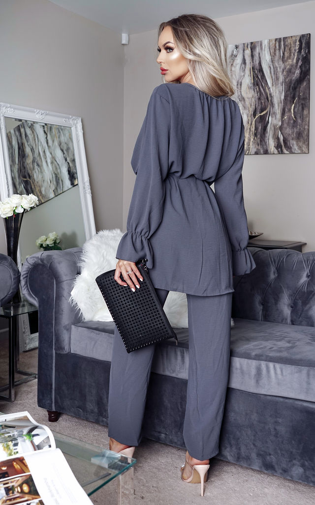 Rowan Grey Long Sleeve Top and Palazzo Trouser Co-Ord by Missfiga
