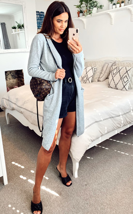 Longline Open Cardigan With Pockets In Light Grey by VM Product photo